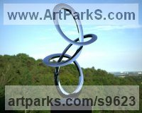 Stainless Steel Spiral Twisted sculpture / statue / carving sculpture by Paul Wesson titled: 'the Track No.1 (stainless Steel abstract Contemporary Loop statues)'
