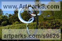 Stainless Steel Spiral Twisted sculpture / statue / carving sculpture by Paul Wesson titled: 'the Track No.3 (stainless Steel abstract Contemporary Loop statue)'
