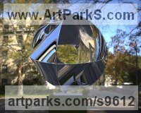 Stainless Steel Spherical Globe like Ball shaped Round Abstract Contemporary sculpture statue statuette sculpture by Paul Wesson titled: 'Unknown structure NO.2'