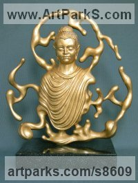 Bronze. Bronze resin. Podium:marble ston Surrealist sculpture by Pavel Zhukovsky titled: 'Incarnation of Buddha'