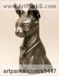 Options: Bronze casting. Bronze resin. T Domestic Animal sculpture by Pavel Zhukovsky titled: 'The Guardian of Time (Egyptian Cat Bust/Head statue)'