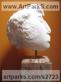 Marble Human Form: Abstract sculpture by Paz Perlman titled: 'Bird Head (Carved marble Semi abstract Head Bust statue)'