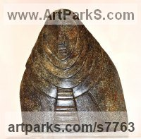 Stone carving Blue granite Abstract Contemporary or Modern Large Public Art sculpture statuary sculpture by sculptor Perryn Butler titled: '11 Hildeguarde Von Bingen (Primitive low relief statue)'