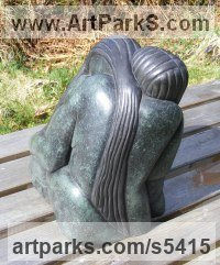 Bronze Resin Parent - Child sculpture by Perryn Butler titled: 'Belonging (A abstract Family garden Yard sculpture)'