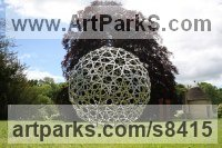 Stainless Steel Spherical Globe like Ball shaped Round Abstract Contemporary sculpture statue statuette sculpture by Pete Moorhouse titled: 'Hala (Big stainless Steel Globe Islamic Art statue)'