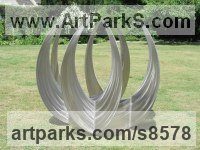 Stainless Steel Round Disk, Dish, Flat Circular Ring Shaped Sculptures / Statues statuette statuary sculpture by Pete Moorhouse titled: 'Khatim'