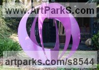 Steel Abstract Contemporary or Modern Outdoor Outside Exterior Garden / Yard Sculptures Statues statuary sculpture by Pete Moorhouse titled: 'Samsara (Contemporary Coloured Steel Loop statues)'
