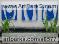 Stove enamelled Steel Abstract Contemporary or Modern Outdoor Outside Exterior Garden / Yard Sculptures Statues statuary sculpture by Pete Moorhouse titled: 'Triptych in Blue (abstract Wall Modern sculptures)'