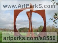 Corten Steel Abstract Modern Contemporary Avant Garde Sculptures Statues statuettes figurines statuary both Indoor Or outside sculpture by Pete Moorhouse titled: 'Zenith (Contemporary abstract Square/Circular statue)'