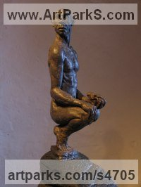 Ash resin, Stone base Stylized People sculpture by Pete Sherrard titled: 'Acumen - (Man Holding a Dog`s Skull statue)'