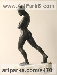 Slate resin, marble base Human Figurative sculpture by Pete Sherrard titled: 'Equivoke (nude Striding Woman Thinking sculptures)'