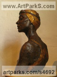 Ash resin, Sculptures of females by Pete Sherrard titled: 'Swimmer (resin Portrait Bust of female sculptures)'