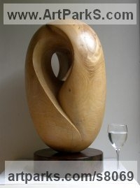 Elm wood Carved Wood sculpture by Peter Graham titled: 'Pennine Landscape (Contemporary Carved Wood statuette)'
