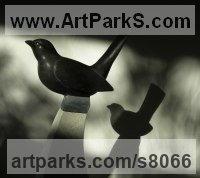 Black Weardale Limestone Varietal Mix of Bird Sculptures or Statues sculpture by Peter Graham titled: 'Blackbird (Carved garden Song Bird sculpture statue carving statuette)'