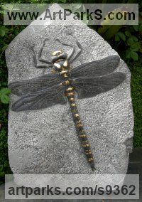 Weardale limestone Carved Stone, Marble, Alabaster, Soap Stone Granite Lime stone sculpture by Peter Graham titled: 'Golden-ringed Dragonfly'
