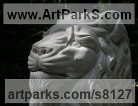 Portland Limestone Cats sculpture by Peter Graham titled: '`Lion Head` (Lime stone Carved Big Cat Bust statue)'