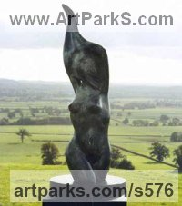 Bronze Nudes, Female sculpture by sculptor Peter Lyell Robinson titled: 'Awakening (abstract Modern nude/Naked female Torso Yard sculptures)'