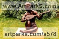 Bronze Garden Or Yard / Outside and Outdoor sculpture by sculptor Peter Lyell Robinson titled: 'Lute Player (abstract figurative nude Musician garden/Yard sculptures)'