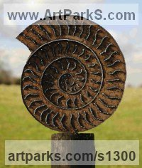 Shells Sculpture including Land and Sea and Freshwater Shells Fossil Shells by sculptor artist Peter M Clarke titled: 'Ammonite I (Steel Fossil Outdoor Outdoor Yard or garden sculptures)' in 6mm mild steel