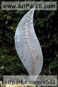 Foliage Leaves Carvings Sculpture Statues by sculptor artist Peter M Clarke titled: 'Filigree Leaf (Steel Large Contemporary Yard/garden sculpture/statue)' in Mild steel