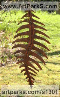 Abstract Plants Fruits Trees Leaves Flowers Statues Sculpture by sculptor artist Peter M Clarke titled: 'Hanging Leaf lll (Big/Outsize Copper Fern Leaf Form garden/Yard statue)' in Copper