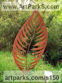 Abstract Plants Fruits Trees Leaves Flowers Statues Sculpture by sculptor artist Peter M Clarke titled: 'Leaf Form II (Big Contemporary Metal Leaf garden/Yard statue/sculpture)' in Mild steel
