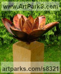 Copper on oak plinth Flower sculpture statue sculpture by Peter M Clarke titled: 'Magnolia ll (Outsize Large Open Flpwer garden statue)'