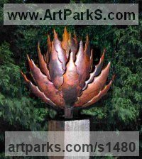 Copper, Wood Plinth Fruit sculpture by Peter M Clarke titled: 'Pod Form lll (Big Fruit Flowers garden sculptures)'