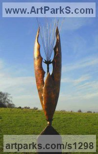 Copper/Wooden Plinth Abstract Contemporary Modern Outdoor Outside Garden / Yard Sculptures Statues statuary sculpture by Peter M Clarke titled: 'Seed Pod V (Big Plant Pod Outdoor Yard sculpture)'