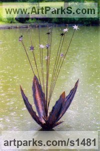 Copper Water Features, Fountains and Cascades sculpture by Peter M Clarke titled: 'Starburst lll (Big Plant Pod and Stars garden statue)'