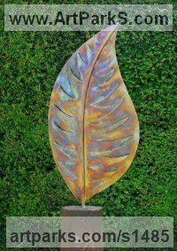 Silhouette, Flat, or Thin or Two Dimensional Bas and Low Reliefs Sculpture or Statues by sculptor artist Peter M Clarke titled: 'Variegated Leaf (Big Outsize garden sculptures)' in Stainless steel/wood plinth
