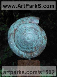 Shells Sculpture including Land and Sea and Freshwater Shells Fossil Shells by sculptor artist Peter M Clarke titled: 'Verdigris Shell Form (Outsize Outsize Yard/garden statue/sculptures)' in Copper, wood plinth