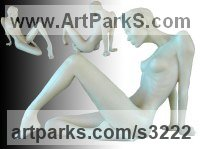 Sensual Sculpture or Statues by sculptor artist Peter Moulton titled: 'Toes (Little Reclining Naked Girl resin statues/statuettes/sculpture)' in Bonded onyx