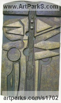 Bronze relief Abstract Modern Contemporary sculpture statuettes figurines statuary sculpture by sculptor Peter Thursby titled: 'Designed Growth'