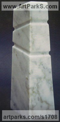 Marble Abstract Modern Contemporary sculpture statuettes figurines statuary sculpture by sculptor Peter Thursby titled: 'Three Level Tower'
