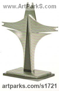 Stainless Steel and Enamel Abstract Modern Contemporary sculpture statuettes figurines statuary sculpture by sculptor Peter Thursby titled: 'Upward Flight II'
