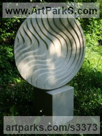 Thermoblock and Concrete Abstract Modern Contemporary Avant Garde Sculptures Statues statuettes figurines statuary both Indoor Or outside sculpture by Peter Wylly titled: 'Zoin (Circular Round Contemporary Modern abstract Small garden statue)'