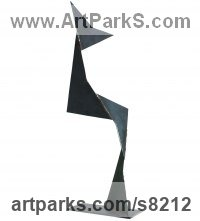 Metal Abstract Modern Contemporary sculpture statuettes figurines statuary sculpture by sculptor Petr Pergler titled: 'Kangaroo (Interior Modern abstract Steel statue)'
