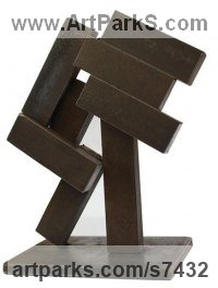 Metal Abstract Modern Contemporary sculpture statuettes figurines statuary sculpture by sculptor Petr Pergler titled: 'Kin1 (Modern Contemporary abstract Little Objet Trouve statue)'