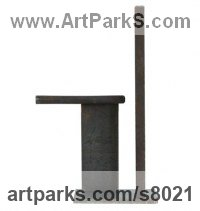 Rusty metal Abstract Modern Contemporary Avant Garde Sculptures Statues statuettes figurines statuary both Indoor Or outside sculpture by Petr Pergler titled: 'Minimal 2 (Steel Modern Small Indoor Minimalist sculpture statue)'