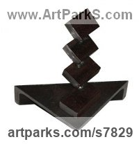 Metal Abstract Modern Contemporary sculpture statuettes figurines statuary sculpture by sculptor Petr Pergler titled: 'Stairs (Little Indoor Contemporary abstract Modern Found Metal statue)'