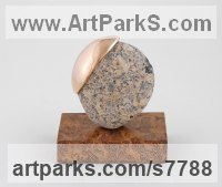 Bronze / stone Spherical Globe like Ball shaped Round Abstract Contemporary sculpture statue statuette sculpture by Philip Hearsey titled: 'Beach Song 11 (abstract Spherical Round Indoor statue sculpture)'