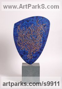 Bronze Modern Abstract Contemporary Avant Garde Sculptures or Statues or statuettes or statuary sculpture by Philip Hearsey titled: 'Feast and Famine (Small Blue abstract Oval sculpture)'
