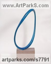 Bronze / stone Round Disk, Dish, Flat Circular Ring Shaped Sculptures / Statues statuette statuary sculpture by Philip Hearsey titled: 'Hartland Tide II (Minimalist Circular Wavy Hoop abstract statue)'
