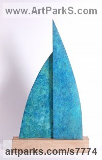 Bronze / wood Modern Abstract Contemporary Avant Garde Sculptures or Statues or statuettes or statuary sculpture by Philip Hearsey titled: 'Home or Away (bronze Sail Blue Boat Indoor statue)'