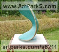 Sculpture Abstract Contemporary or Modern Outdoor Outside Exterior Garden / Yard Sculptures Statues statuary sculpture by Philip Hearsey titled: 'Moment of Suspension (Contemporary Curved Minimalist Blue Wave statue)'