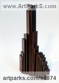 Steel Fabricated Metal Abstract sculpture by Philip Melling titled: 'City of Angles II (Architectural Cubist Steel Tower statuette)'