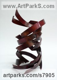 Copper Repetitive Form / Shape Abstract Sculptures / Statues sculpture by Philip Melling titled: 'Djinn V (Small abstract Patinated Copper Indoor Swirling statuettes)'