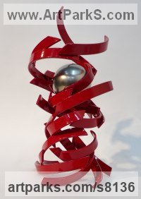 Steel/Stainless Steel Modern Abstract Contemporary Avant Garde Sculptures or Statues or statuettes or statuary sculpture by Philip Melling titled: 'Djinn VII (Vibrant Spirit of Wind and Fire abstract Contemporary statue)'