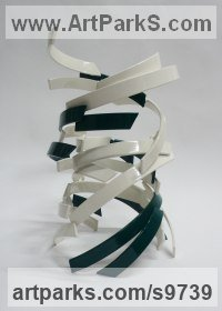 Steel Modern Abstract Contemporary Avant Garde Sculptures or Statues or statuettes or statuary sculpture by Philip Melling titled: 'Djinn XII (White and green abstract whirlwind sculpture)'